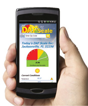 The DAF Scale is optimised for mobile devices so you can check the weather for sealcoating or striping